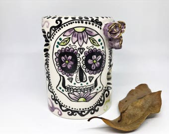 votive candle holder, dias de los muertos,skull decor,gothic home decor,tealight candle holder,prayer candle,skull candle holder,sugar skull