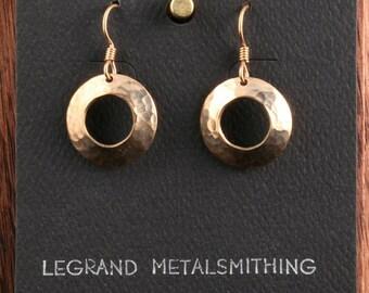 Bronze annulus disk earrings