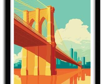 Brooklyn Bridge Art Print by REMKO HEEMSKERK