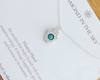 Meaning of hamsa etsy hamsa hand and turquoise bead necklace on gift card aloadofball Images
