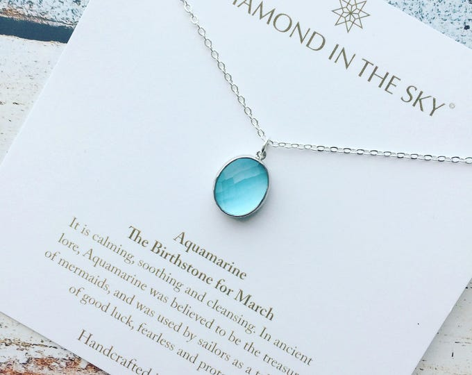 Featured listing image: Aquamarine March Birthstone crystal chakra healing Necklace Gift Card