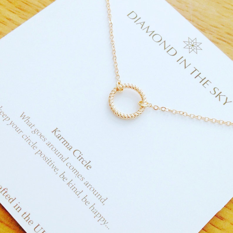 2fd16ecc96c38d Gold Karma Circle Necklace on Gift Card   Etsy