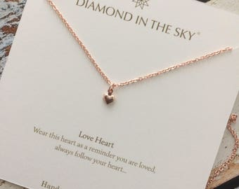Rose Gold heart loveheart Necklace on Gift Card