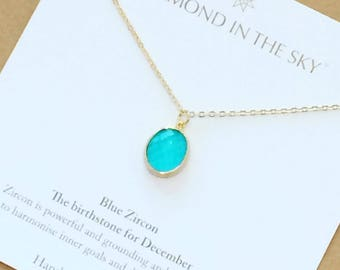 Blue Zircon December Birthstone crystal chakra healing Necklace Gift Card