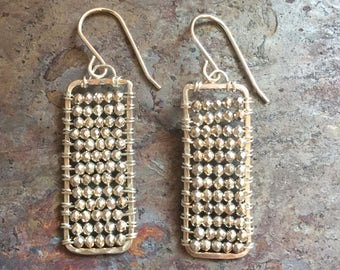 Silver pyrite silver rectangular statement earrings