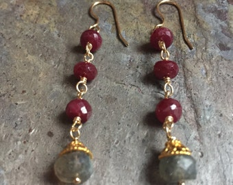Ruby and labradorite gemstone gold dangle earrings