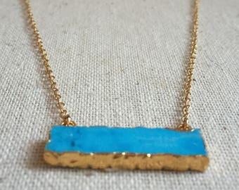 Turquoise gemstone bar gold necklace
