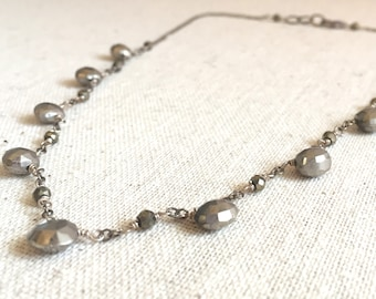 Silver pyrite statement necklace