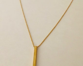 Sterling silver or gold filled minimalist bar pendant necklace
