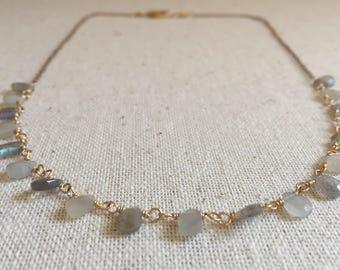 Labradorite and moonstone gemstone gold statement necklace