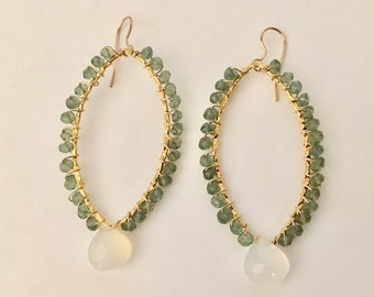 Green apatite and chalcedony gemstone gold hoop earrings