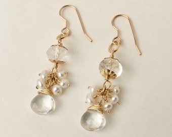Quartz crystal and freshwater pearl gold dangle earrings