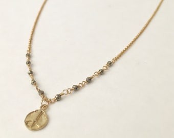 Pyrite gemstone gold necklace with peace sign charm