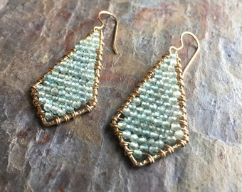 Aquamarine gemstone  gold kite shaped statement earrings