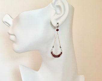 Ruby gemstone sterling silver chandelier earrings