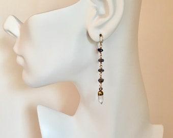 Iolite and quartz crystal spike gold dangle earrings