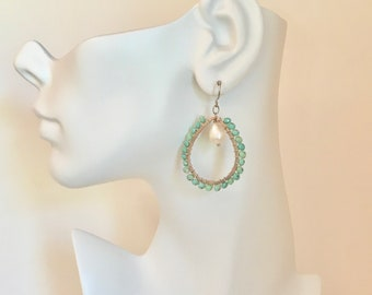 Chalcedony gemstone silver hoop earrings with freshwater pearls