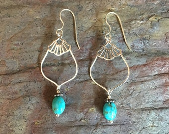 Turquoise gemstone silver dangle statement earrings
