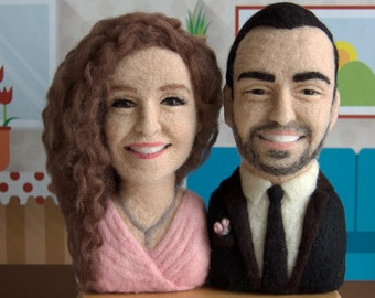 Needle Felted Wool Portrait (couple) 17 cm * free shipping