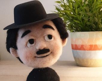 Charlie Chaplin Needle Felted Sculpture