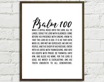 Psalm 100 (KJV) Digital Art Printable 8x10+11x14 | Gratitude | Thanksgiving | Black & White Scripture Bible Home Decor Art Instant Download