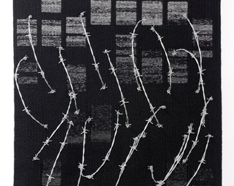 Now and Then - fine art tapestry weaving in wool on cotton warp with barbed wire in 3D