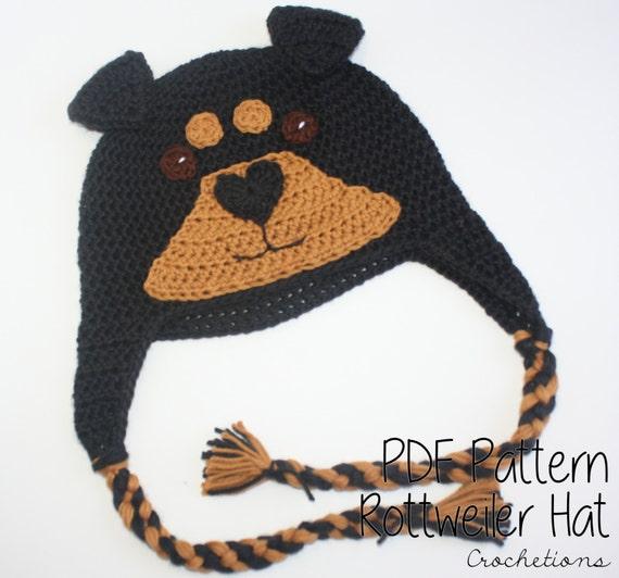 Crochet Pattern Rottweiler Hat Dog Breed Beanie Puppy Etsy