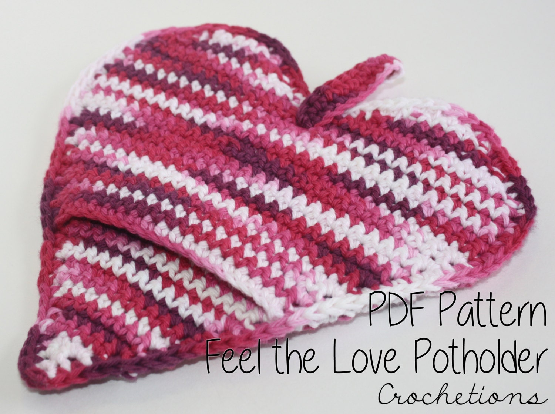 Crochet Pattern Feel The Love Pot Holder Cookware Crochet Etsy