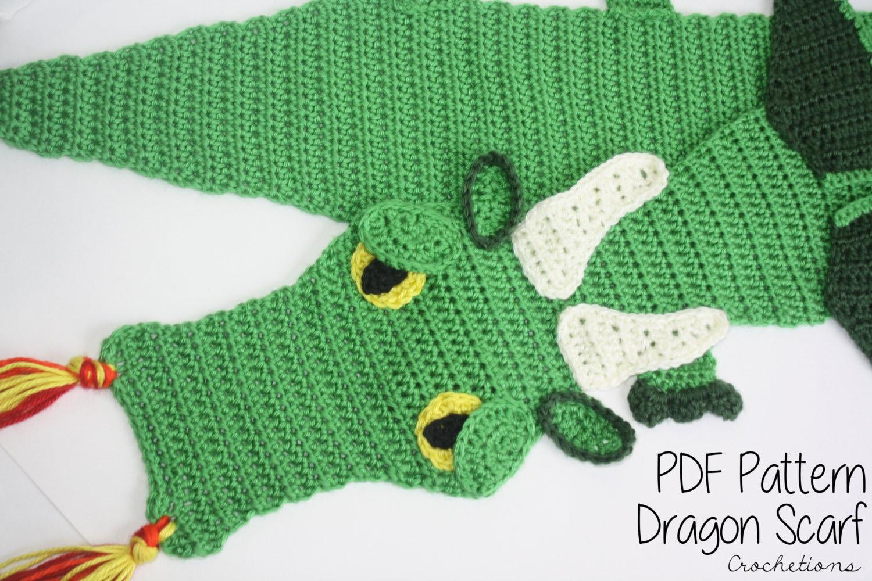 Crochet PATTERN Dragon Scarf / Dragon Lovers Majestic | Etsy