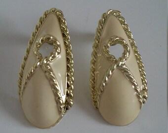 Gold Tone and Cream Enamel Post Earrings