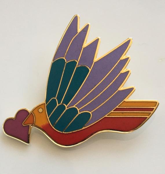 Laurel Burch Celeste With Heart Bird Pendant Brooc