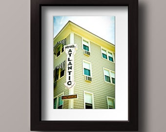 Atlantic Hotel Sign, Neon Sign Photograph, Ocean City Maryland Travel Photograph - Beach Decor Condo Decor Beach Resort Photo