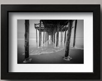 Fishing Pier Black and White Photo, Ocean City, Maryland, Beach Photo, Boardwalk Photography, Ocean, Beach, Sea, Wall Art, Home, Bath Decor