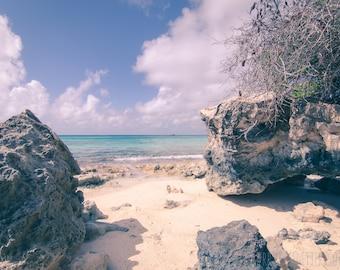 Beach Photography, Turks and Caicos, Coral Reef, Caribbean Beach Print, Blue White, Grand Turk, Nautical Print, Fine Art Home Decor