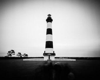 Bodie Island Lighthouse Photo, Cape Hatteras, North Carolina, Black and White, Nautical Photography, Ocean, Beach, Sea, Wall Art, Home Decor