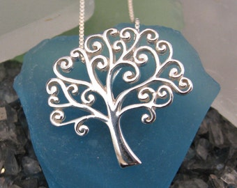 Tree of Life Necklace- Swirly Design- Sterling Silver*