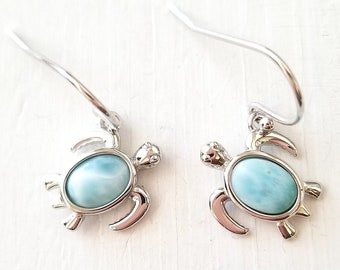 Turtle Larimar dangling earrings ( 5 Opts avail)- Pear Shaped- Dominican Larimar  Calming Stone