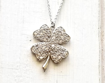 Clover necklace with cz Sterling Silver - 4 leaf clover -Celtic Irish Love - Lucky Charm - Bridal jewelry