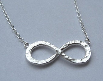 Hammered Infinity necklace- 925 Sterling Silver- bridesmaid- forever jewelry- endless love