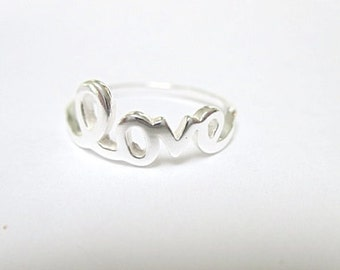 Love Ring Sterling Silver Love script ring valentines ring I love you ring *