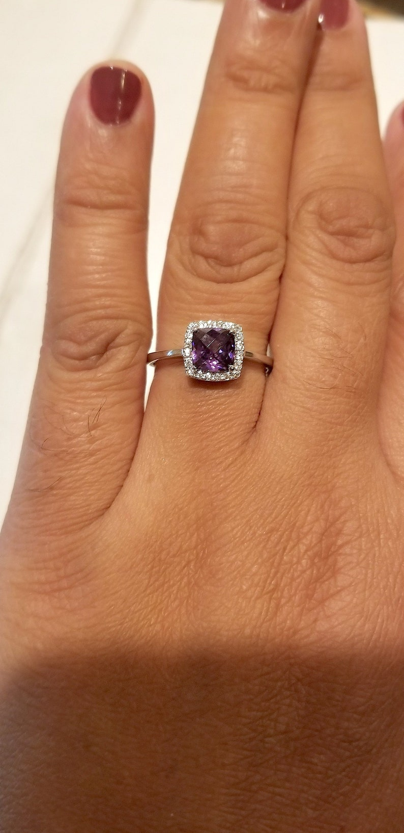Sterling Silver Square Amethyst Gemstone Adjustable Toe Ring On Plain Band