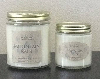 Mountain Rain - Soy Candle - Hand Poured - Scented Candle - Container Candle - Patchouli Scented Candle - Earthy Candle - Rain Candle