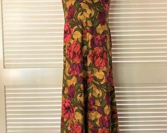 Vtg 70s Jumpsuit POLKA DOT Mod Retro Suspenders Boho Wide PALAZZO Pant M