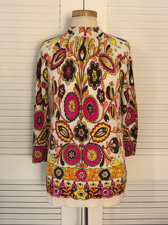 Vintage Groovy Psychedelic Mod Day-Glo 60s Tunic S