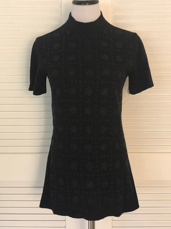 Mod Vintage 1960's 70's Black Beaded Knit Mock Nec
