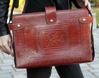 Faux Leather Brown / Red Tooled Dragon Celtic Messenger Laptop Bag Renaissance