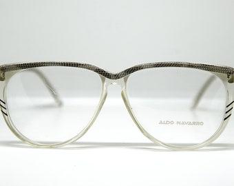 Aldo Navarro Vintage 70s grey /& clear aviator sunglasses New Old Stock Hand made in Italy