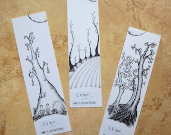 Beneath the Moon bookmarks bundle - Trio of Trees, Fairy Tree, Harvest - colouring, hand drawn