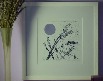LAVENDER linocut, flowers and the moon.