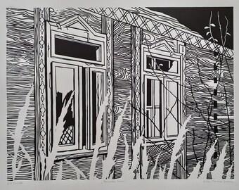 HOUSE OF POSAVINA linocut. Wooden house ruin.